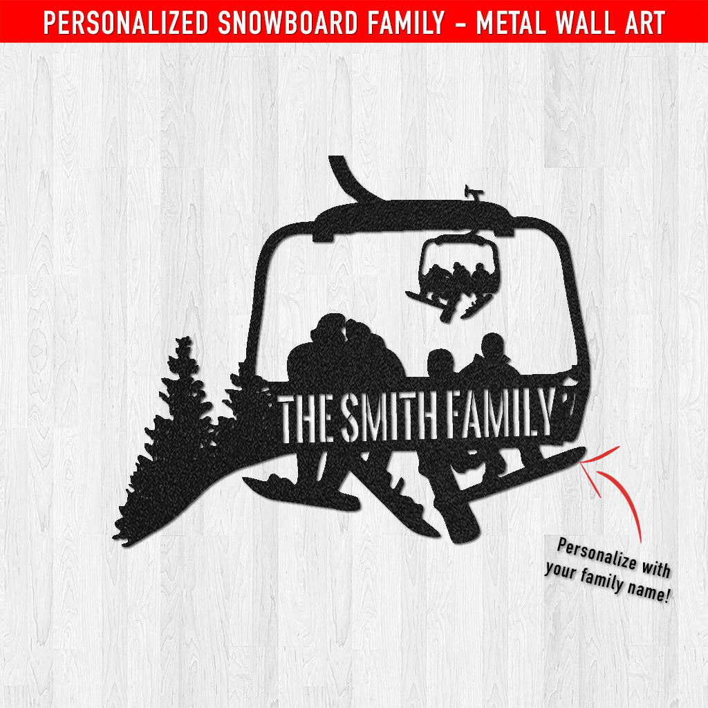PERSONALIZED Chairlift Snowboard Family Metal Wall Art (🇺🇸 Made In The USA) - Powderaddicts