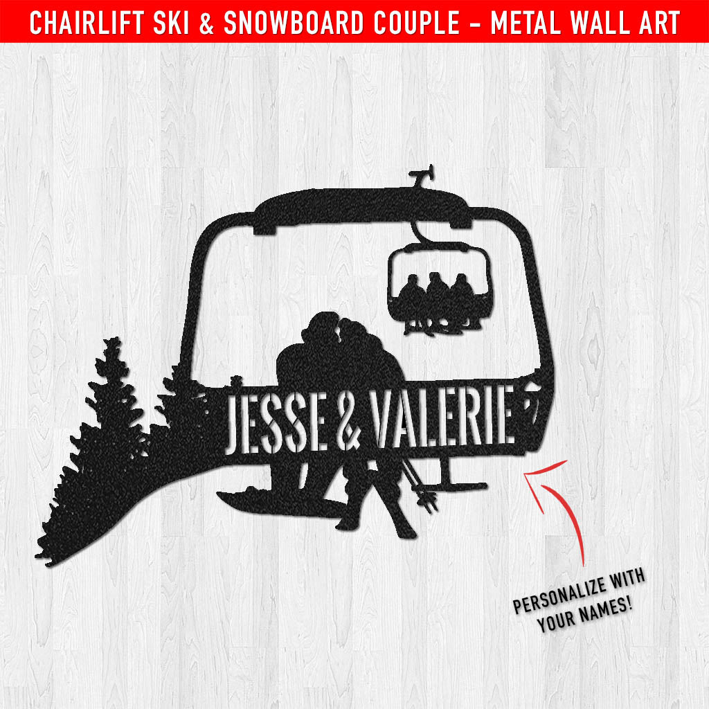 PERSONALIZED Chairlift Ski & Snowboard Couple Metal Wall Art (🇺🇸 Made In The USA) - Powderaddicts