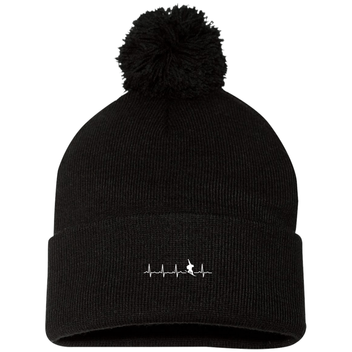 Snowboard is My Heartbeat Pom Pom Knit Cap - Powderaddicts
