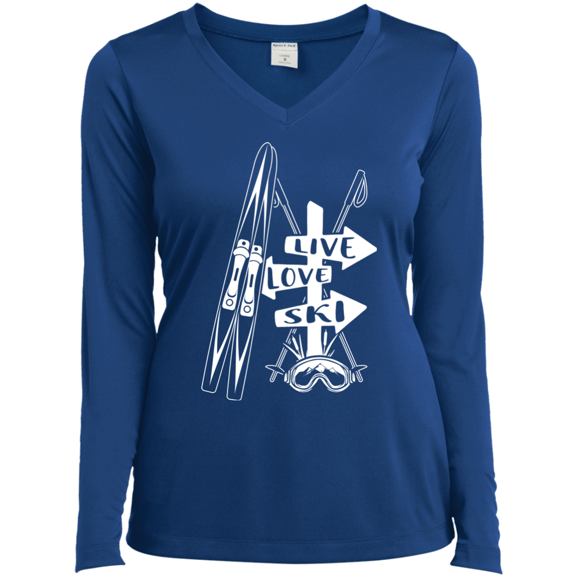 Live Love Ski White Sport-Tek Ladies' LS Performance V-Neck T-Shirt - Powderaddicts