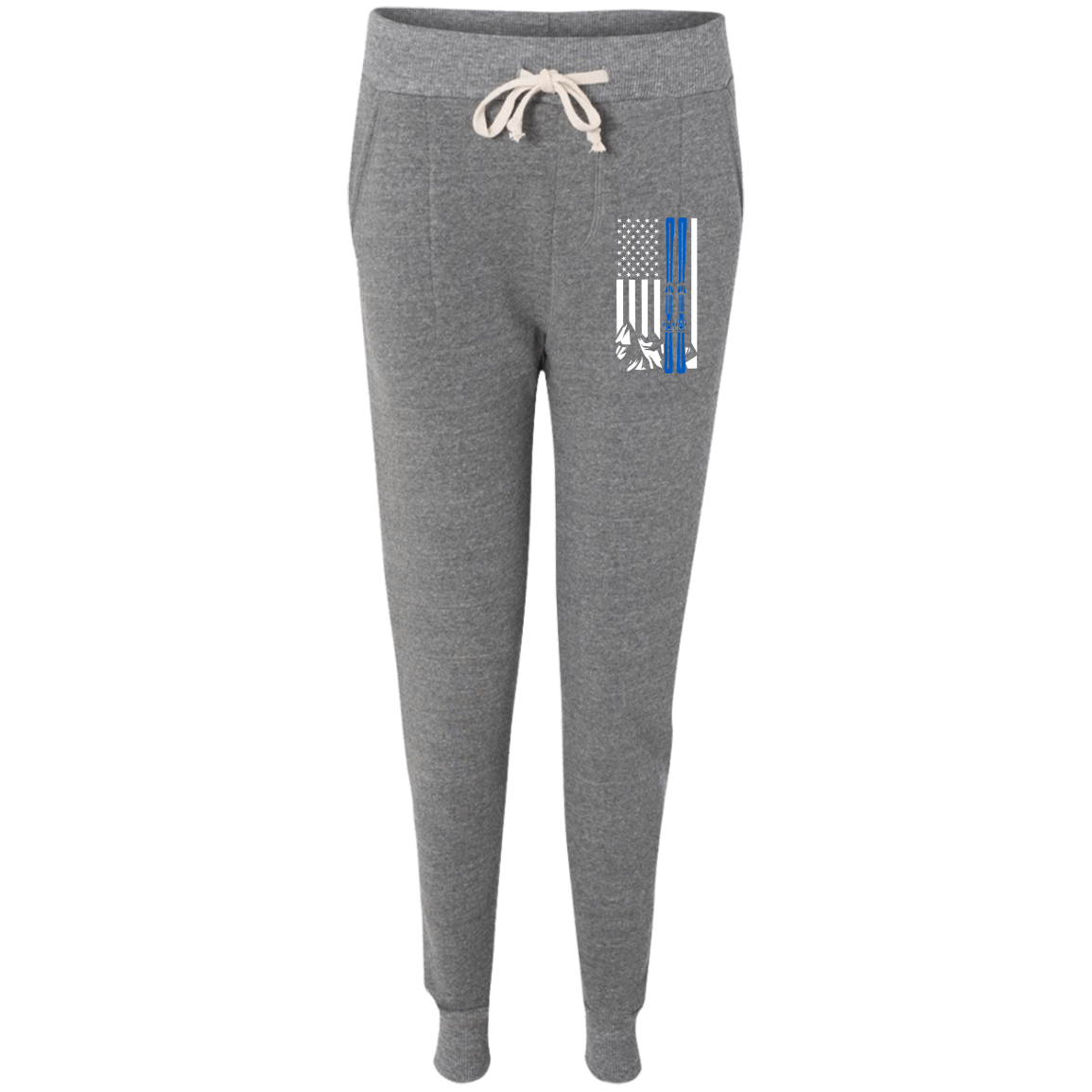 USA Ski Flag Thin Blue Line Women's Adult Fleece Jogger - Powderaddicts