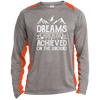 Ski Dreams Were Never Achieved On The Ground Sport-Tek LS Heather Colorblock Poly T-Shirt - Powderaddicts