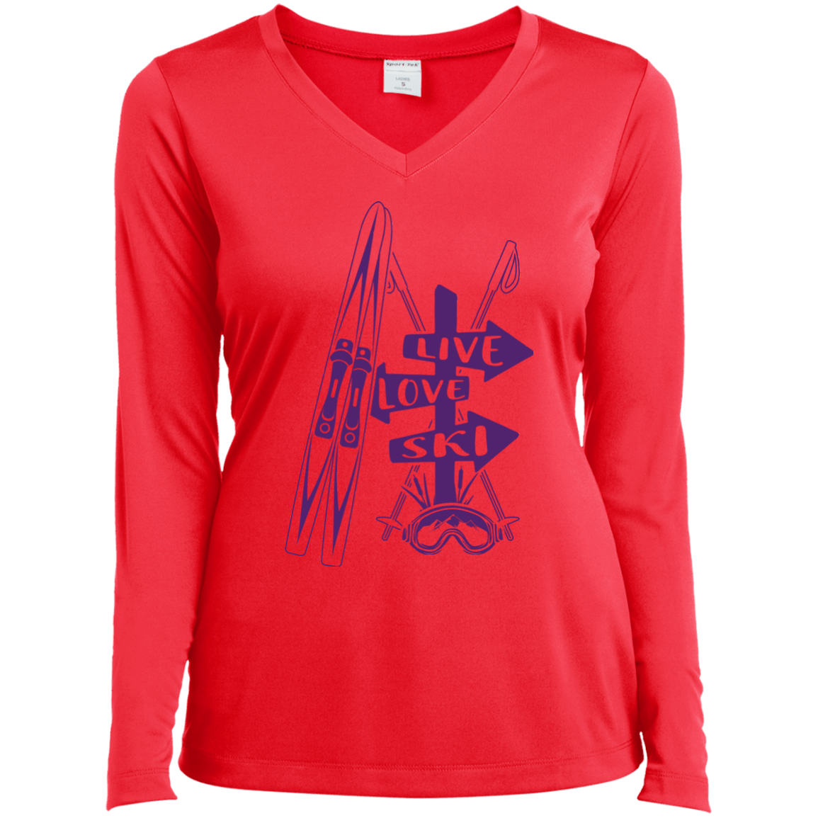 Live Love Ski Purple Sport-Tek Ladies' LS Performance V-Neck T-Shirt - Powderaddicts