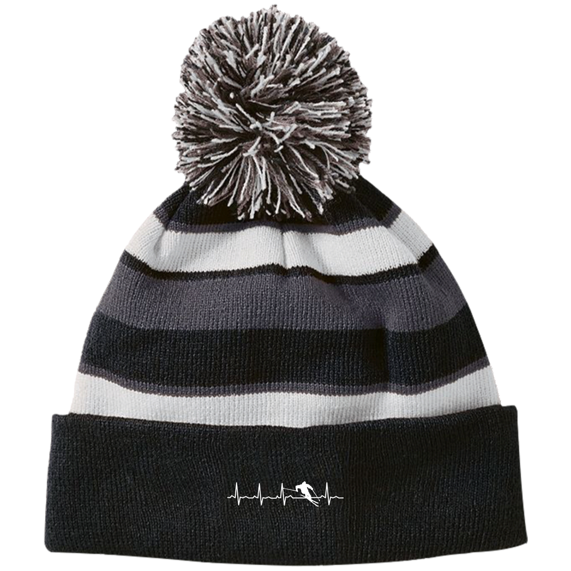 Ski is My Heartbeat Striped Beanie - Powderaddicts