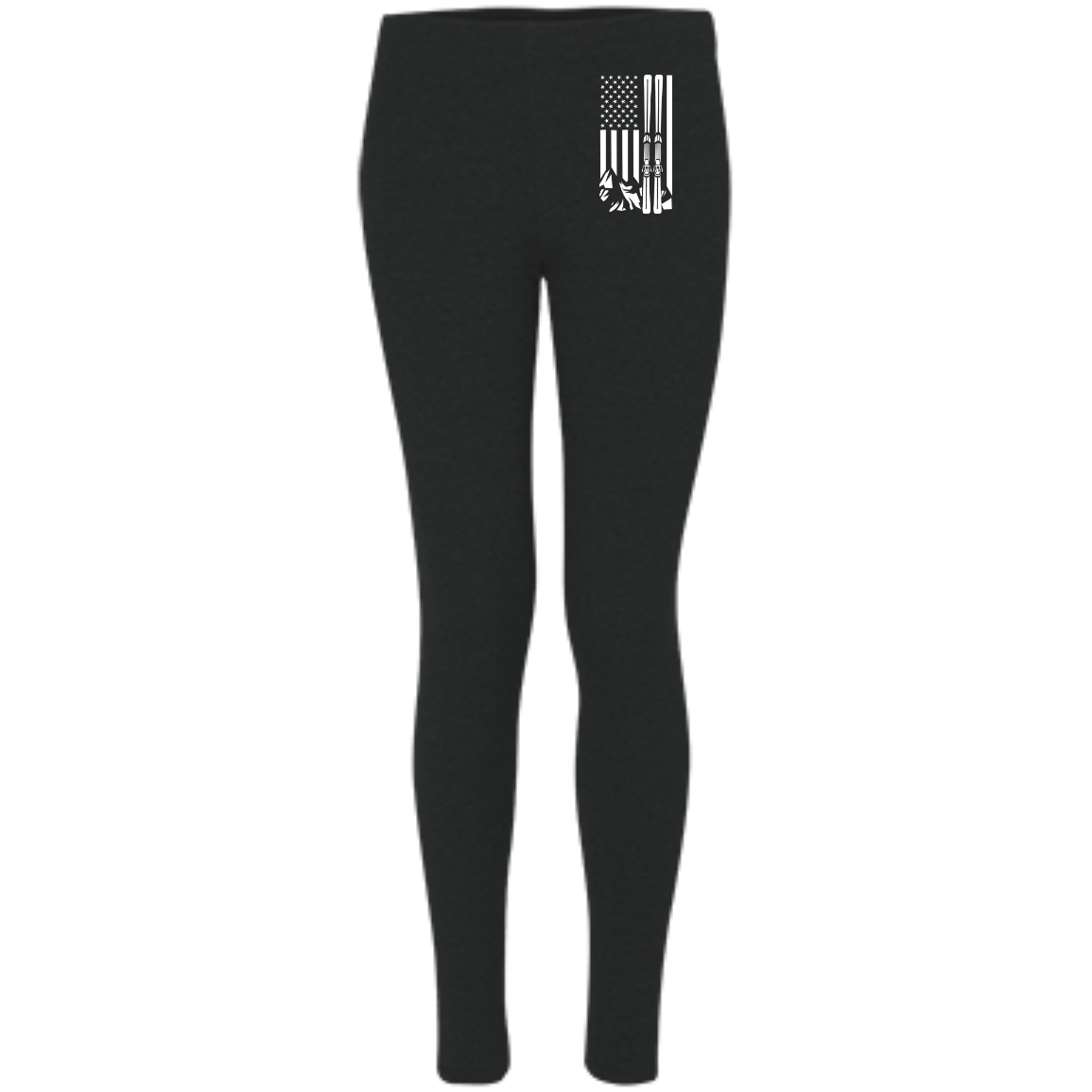 USA Ski Flag All White Women's Embroidered Leggings - Powderaddicts