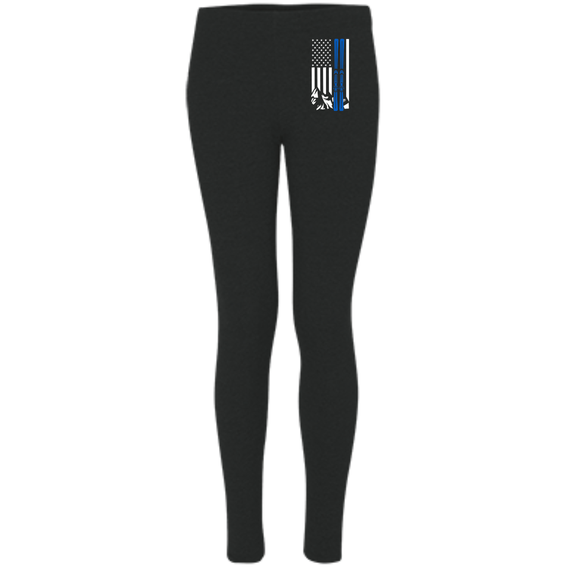 USA Ski Flag Thin Blue Line Women's Embroidered Leggings - Powderaddicts