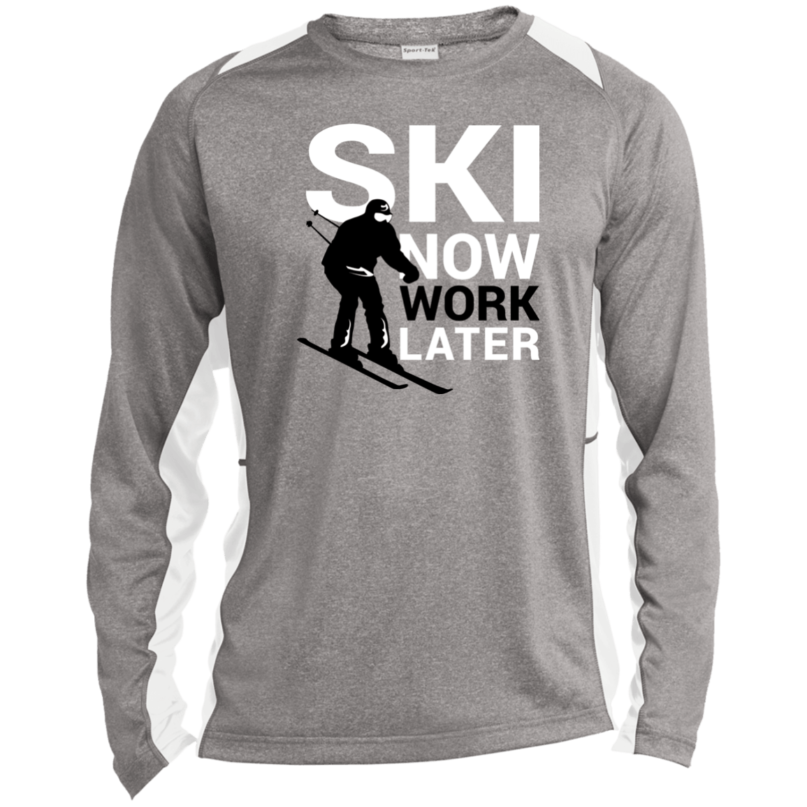 Ski Now Work Later Sport-Tek LS Heather Colorblock Poly T-Shirt - Powderaddicts