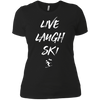 Live Laugh Ski Ladies Tees and V-Neck - Powderaddicts