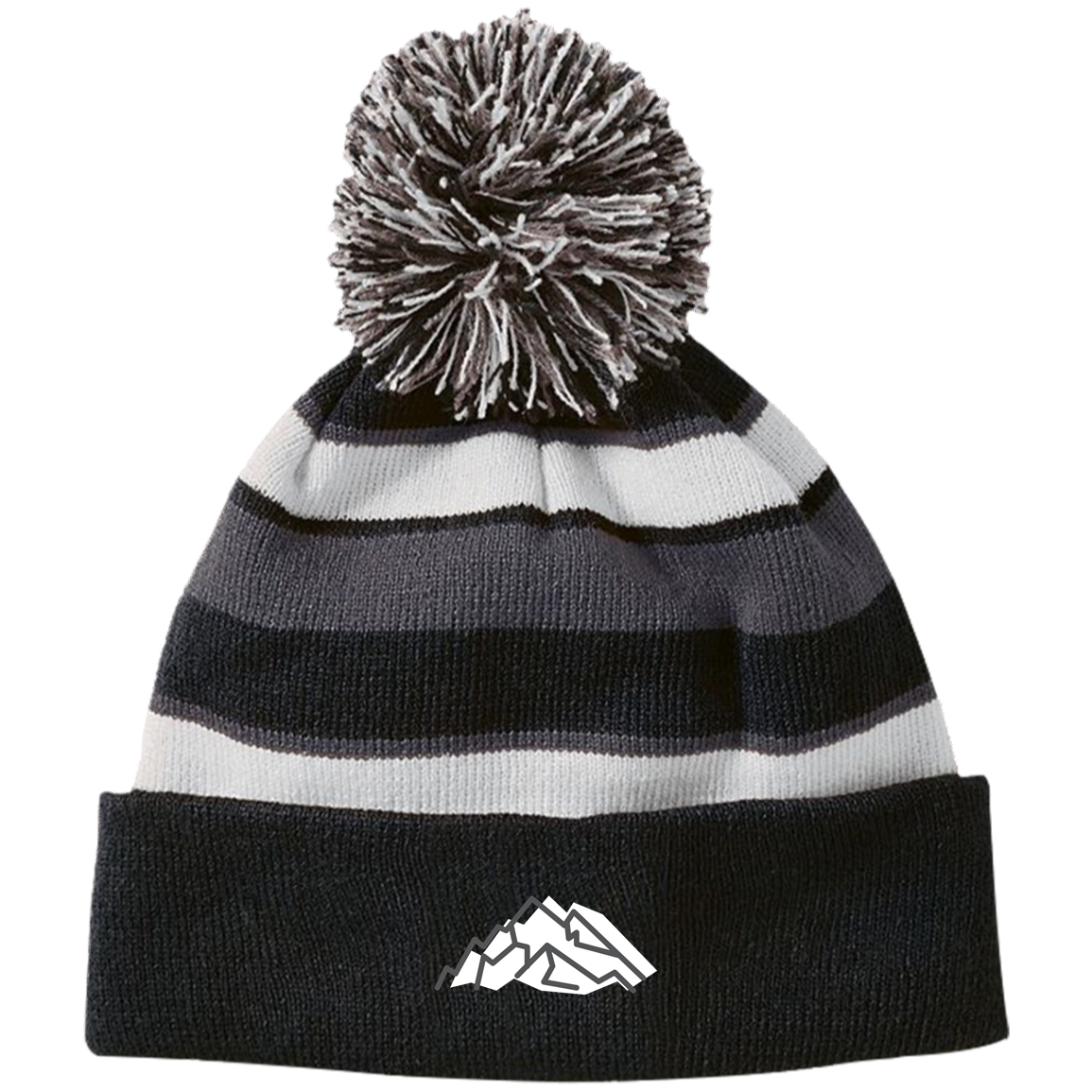 Mountain Embroidery Striped Beanie - Powderaddicts
