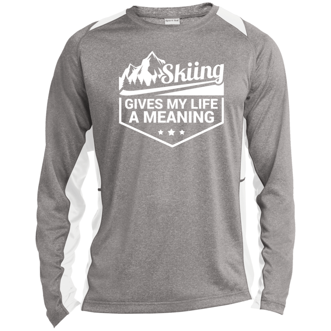 Skiing Gives My Life A Meaning Sport-Tek LS Heather Colorblock Poly T-Shirt - Powderaddicts