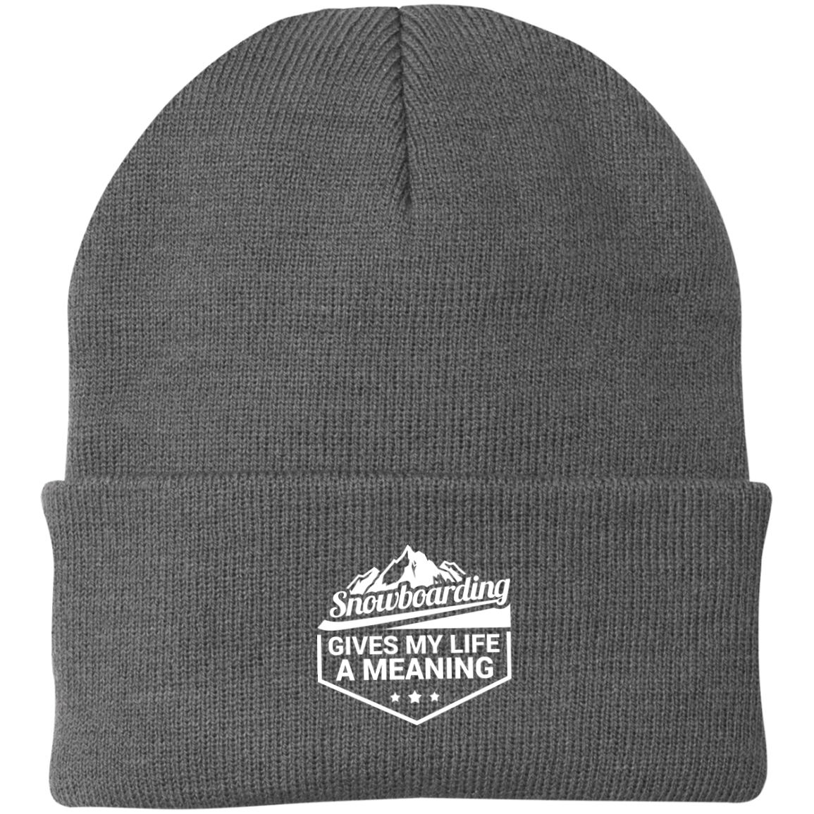 Snowboarding Gives My Life a Meaning Knit Cap - Powderaddicts