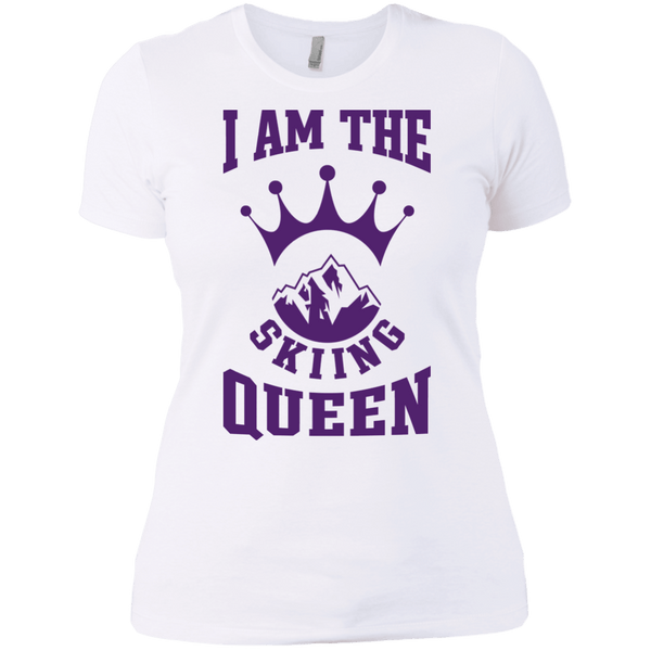 I Am The Skiing Queen Purple Next Level Ladies' Shirt