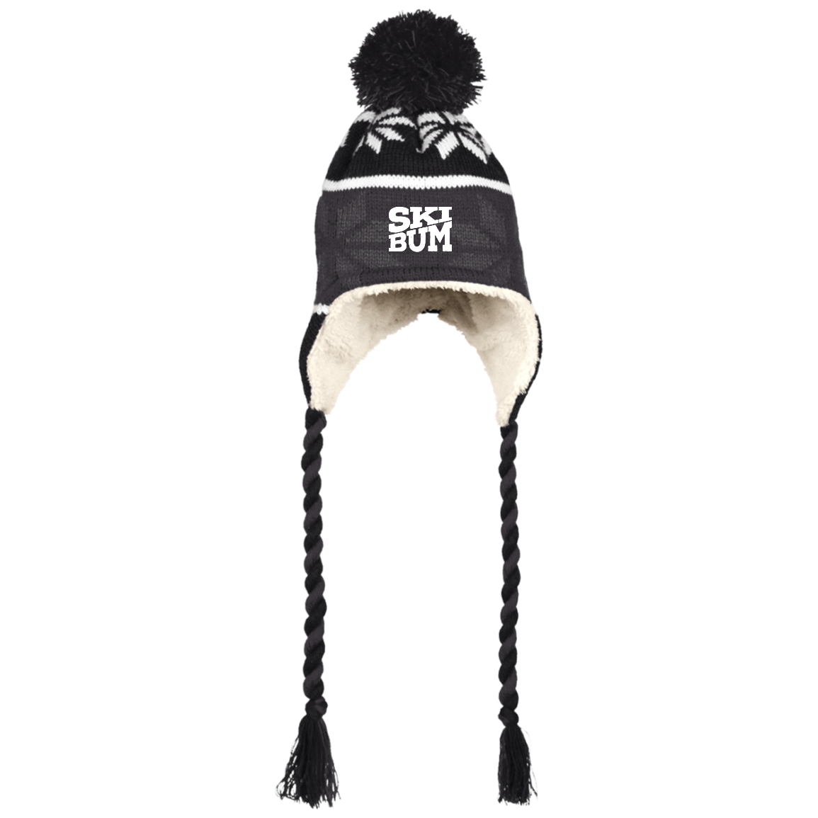 Ski Bum Peruvian Hat with Ear Flaps and Braids - Powderaddicts