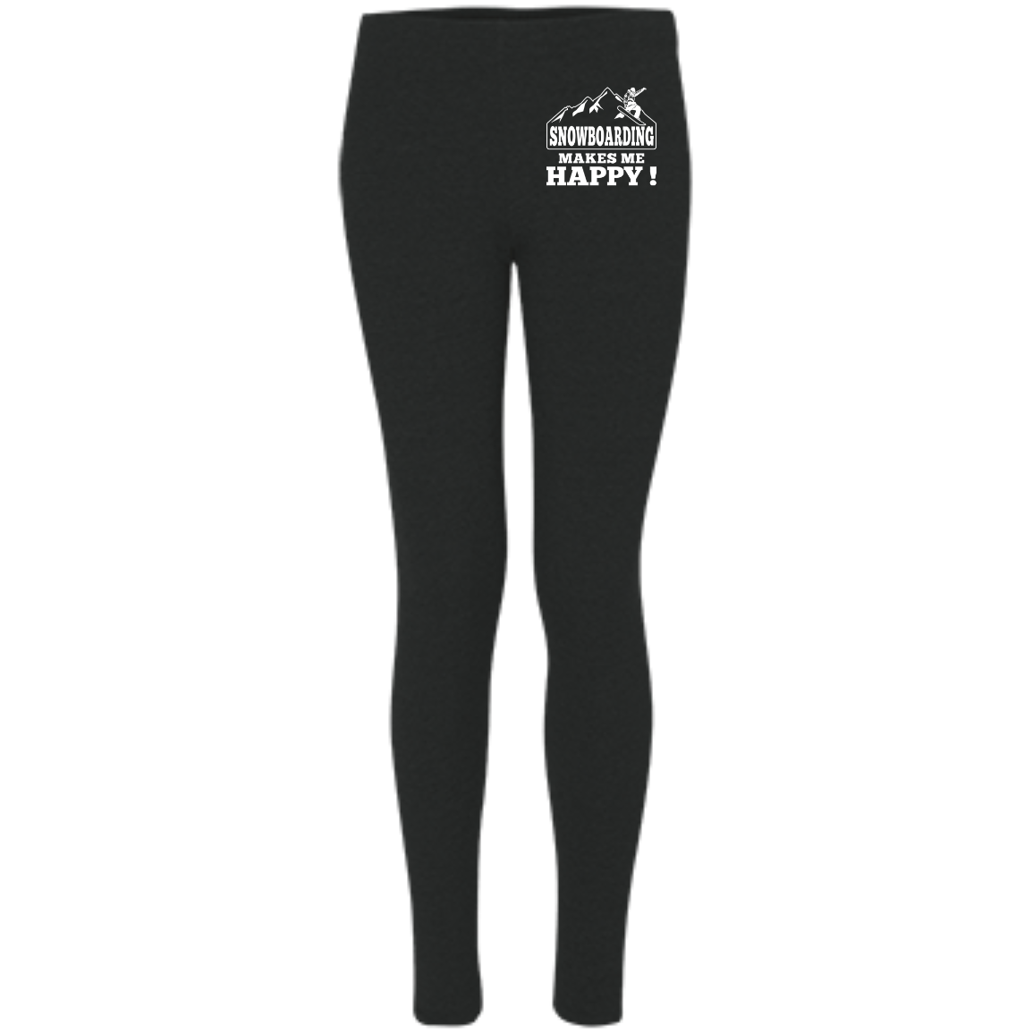 Snowboarding Makes Me Happy Women's Embroidered Leggings - Powderaddicts