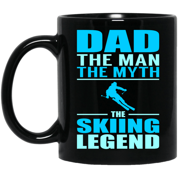 Dad The Man The Myth The Skiing Legend MugCoffee Mug11 oz. Black MugBlackOne Size - PowderAddicts.com