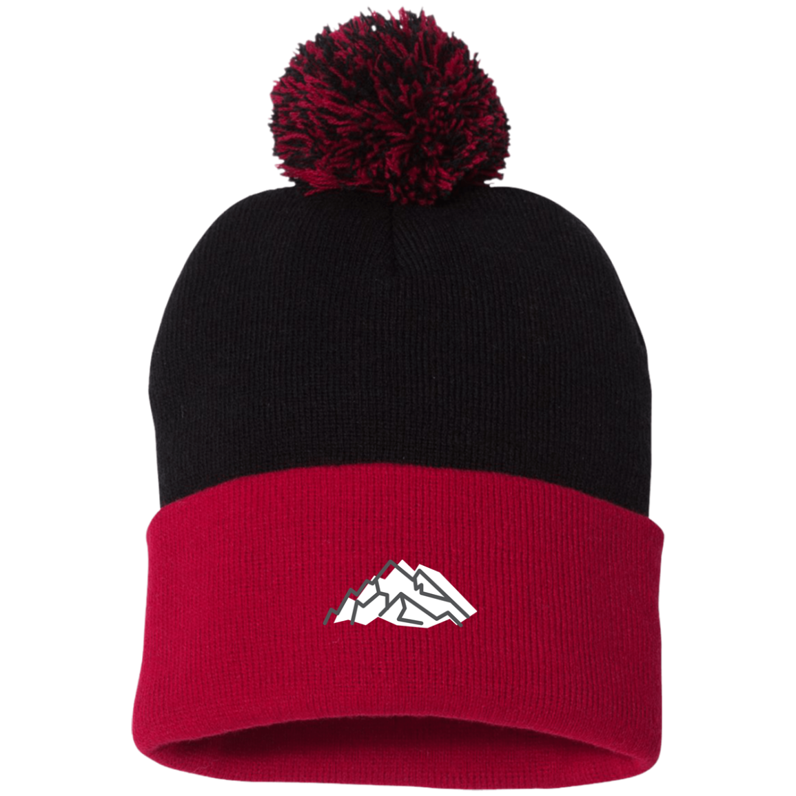 Mountain Embroidery Pom Pom Knit Cap - Powderaddicts