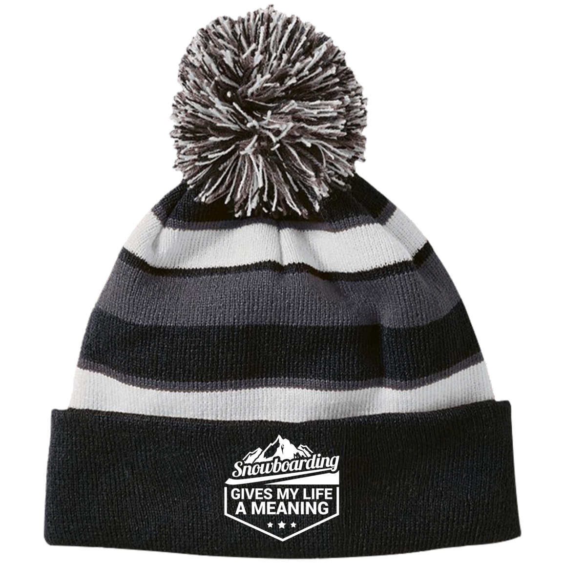 Snowboarding Gives My Life a Meaning Striped Beanie - Powderaddicts