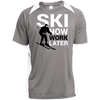 Ski Now Work Later Sport-Tek Heather Colorblock Poly T-Shirt - Powderaddicts