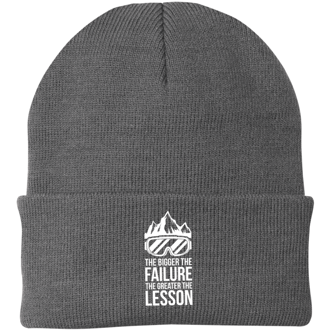 The Bigger The Failure The Greater The Lesson Knit Cap - Powderaddicts