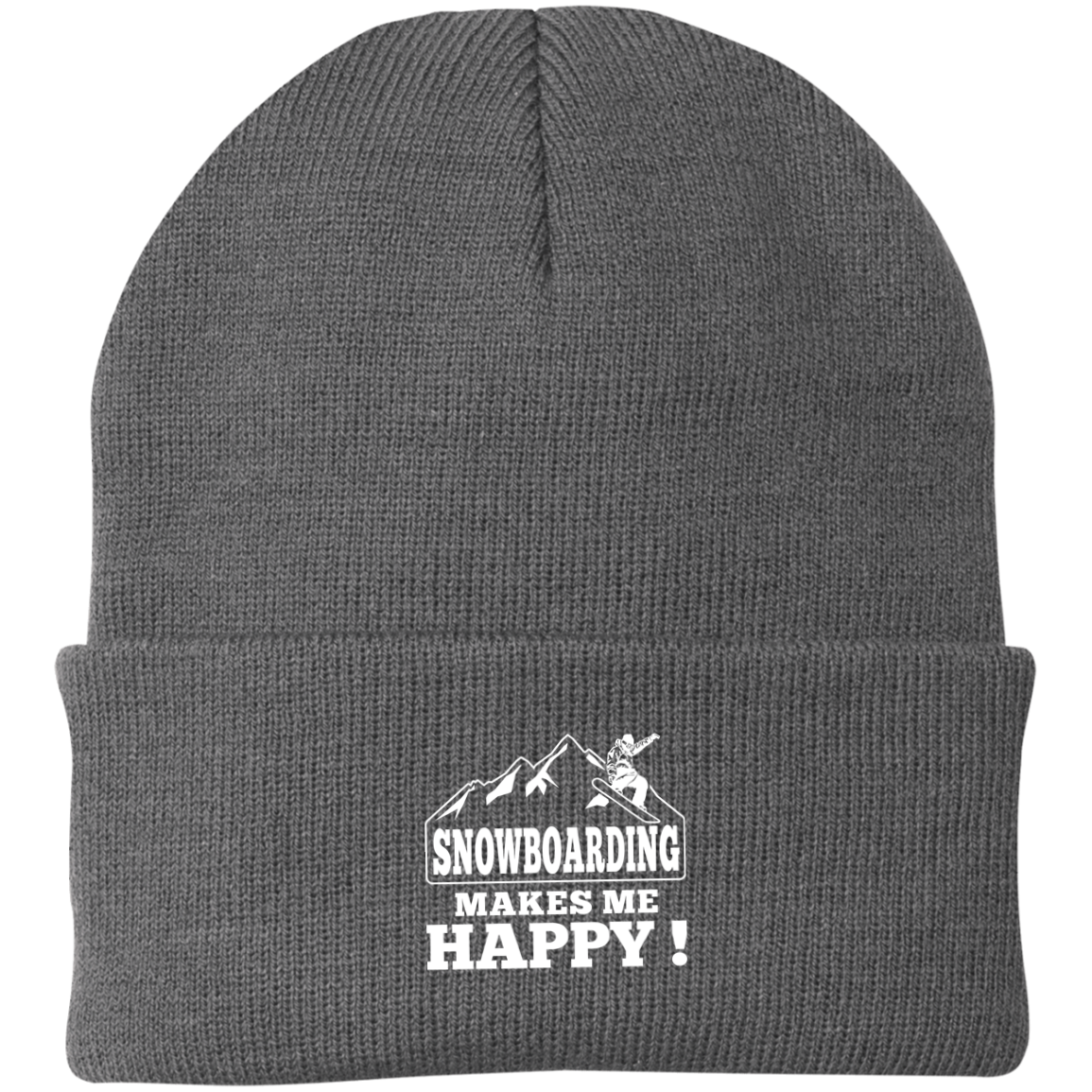 Snowboarding Makes Me Happy Knit Cap - Powderaddicts