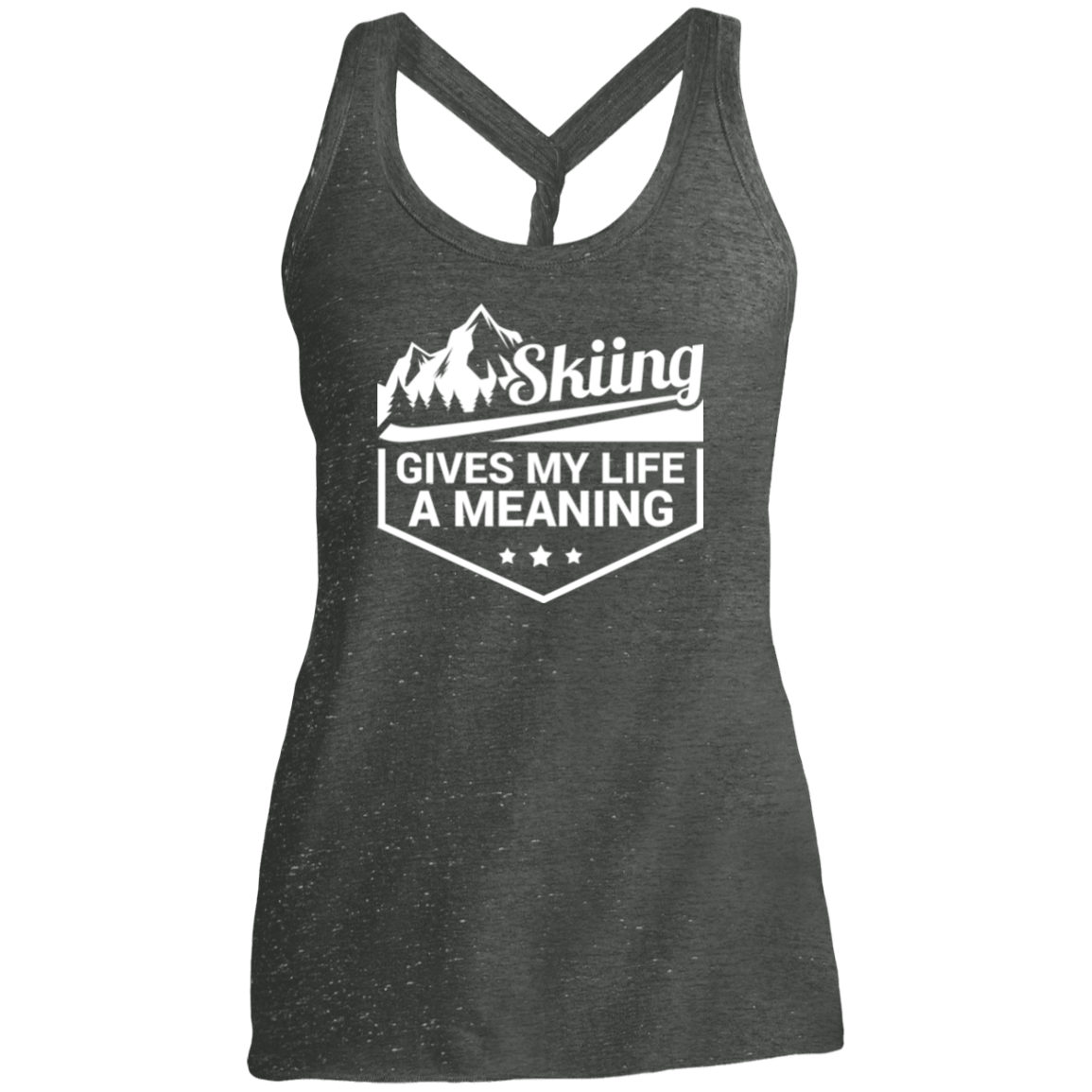 Skiing Gives My Life A Meaning District Made Ladies Cosmic Twist Back Tank - Powderaddicts