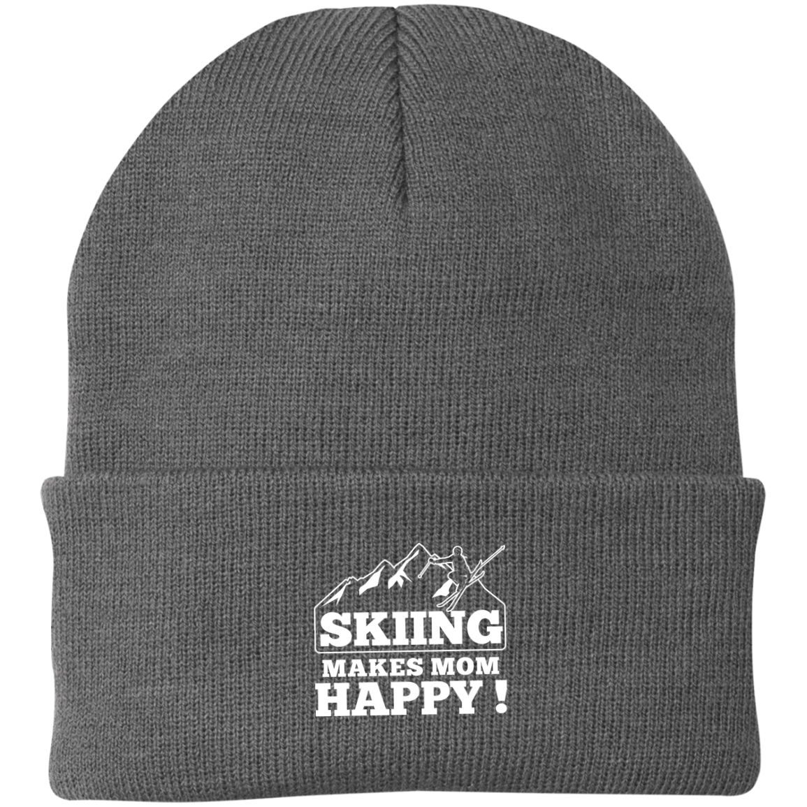 Skiing Makes Mom Happy Knit Cap - Powderaddicts