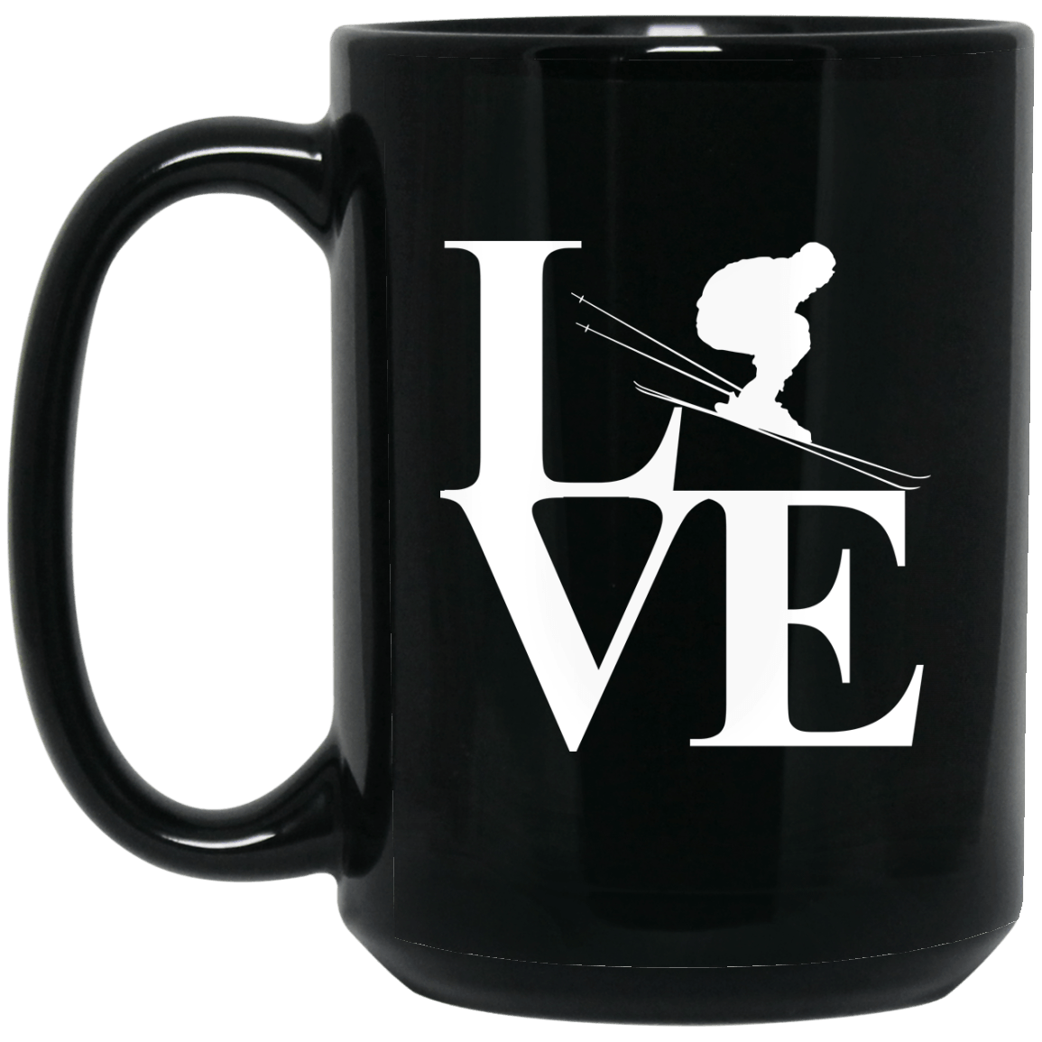 Love Skiing Black Mug - Powderaddicts