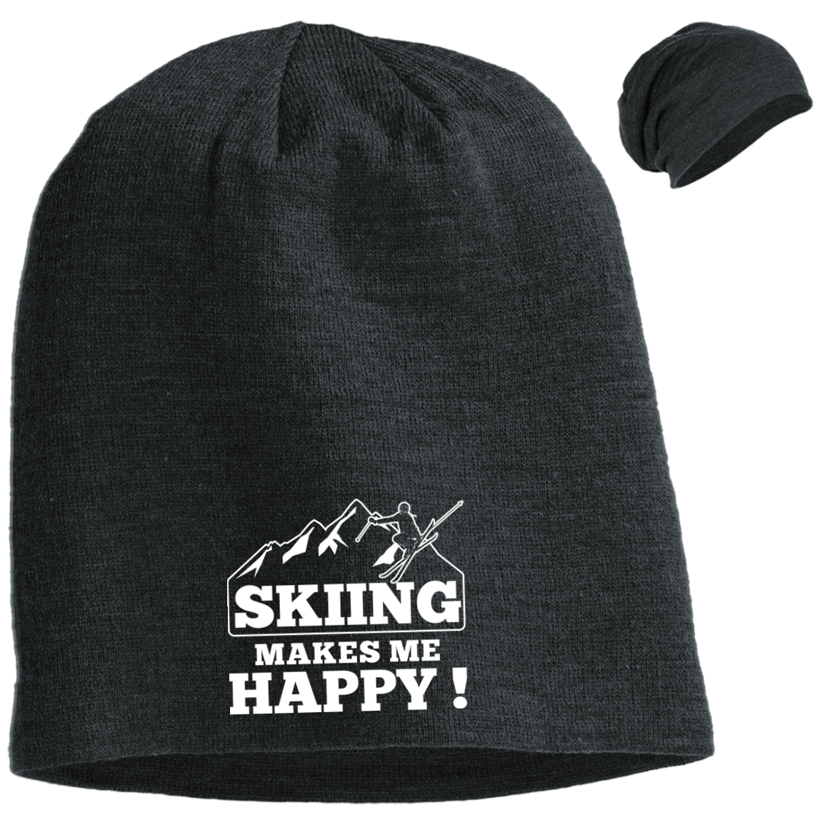 Skiing Makes Me Happy Slouch Beanie - Powderaddicts