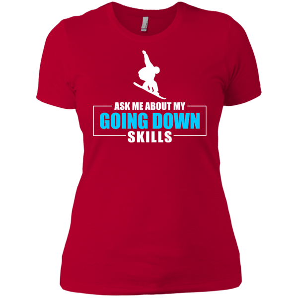 Ask Me About My Going Down Skills - Snowboard Ladies Tees and V-Neck