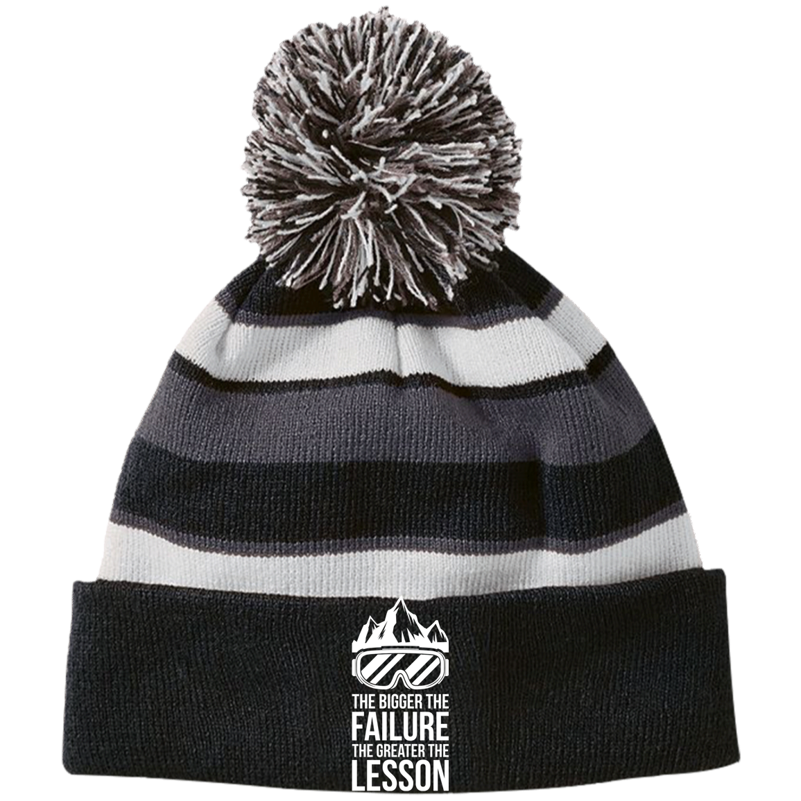 The Bigger The Failure The Greater The Lesson Striped Beanie - Powderaddicts