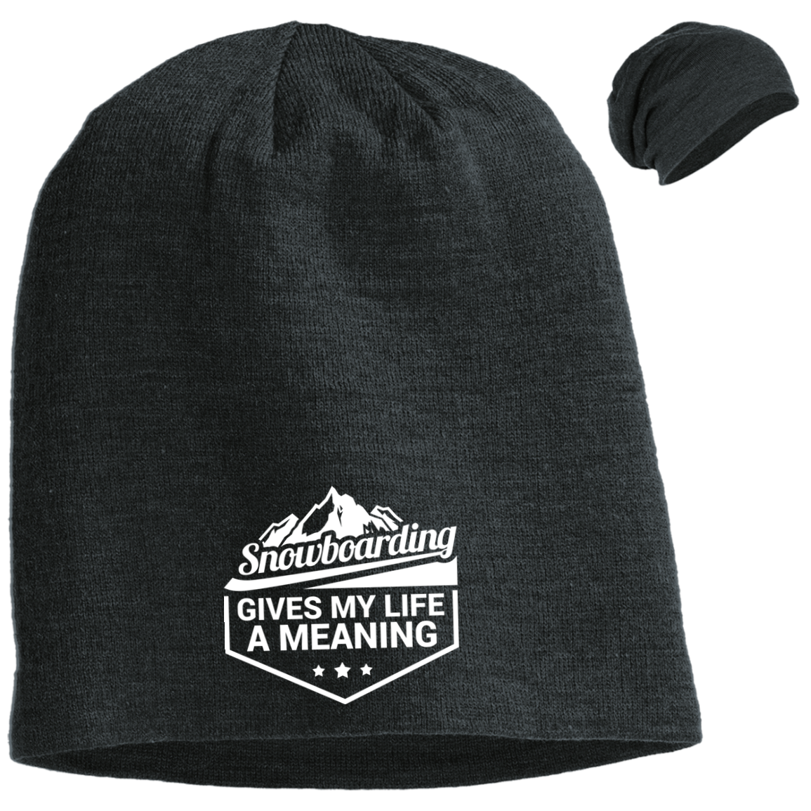 Snowboarding Gives My Life a Meaning Slouch Beanie - Powderaddicts