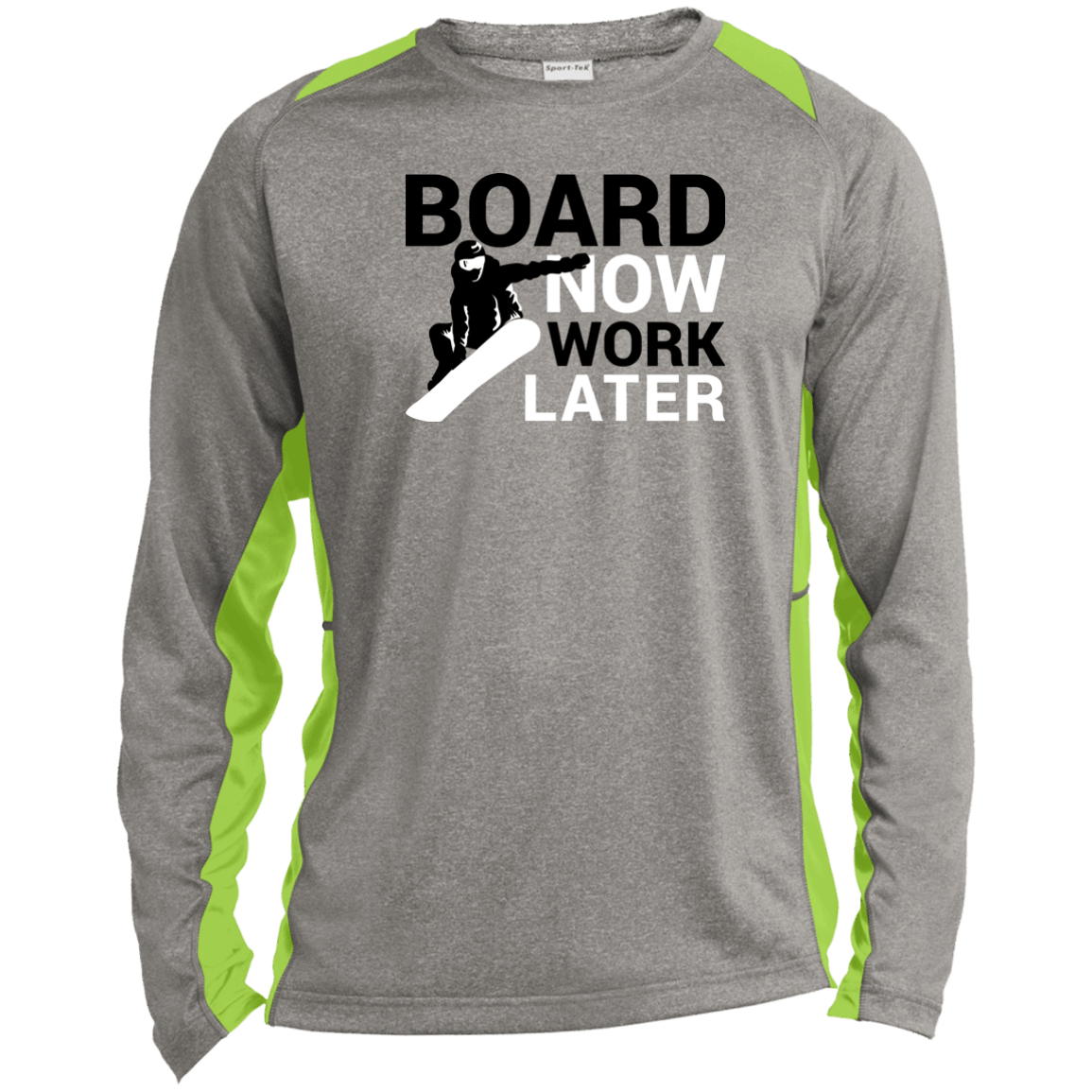 Board Now Work Later Sport-Tek LS Heather Colorblock Poly T-Shirt - Powderaddicts