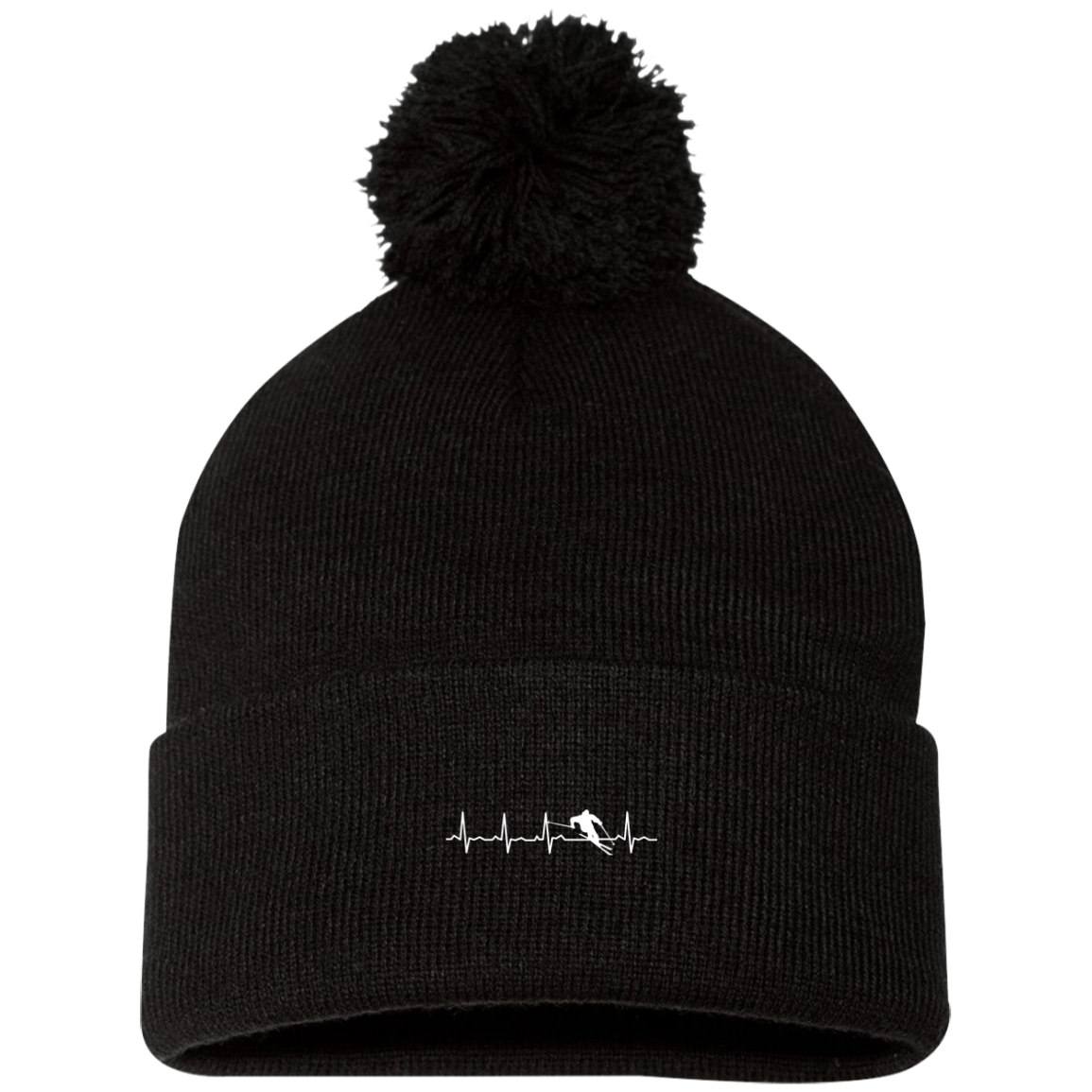 Ski is My Heartbeat Pom Pom Knit Cap - Powderaddicts