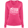 Skiing Gives My Life A Meaning Sport-Tek Ladies' LS Heather Dri-Fit V-Neck T-Shirt - Powderaddicts
