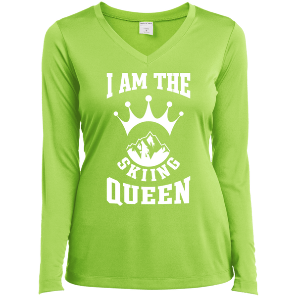 I Am The Skiing Queen White Sport-Tek Ladies' LS Performance V-Neck T-Shirt