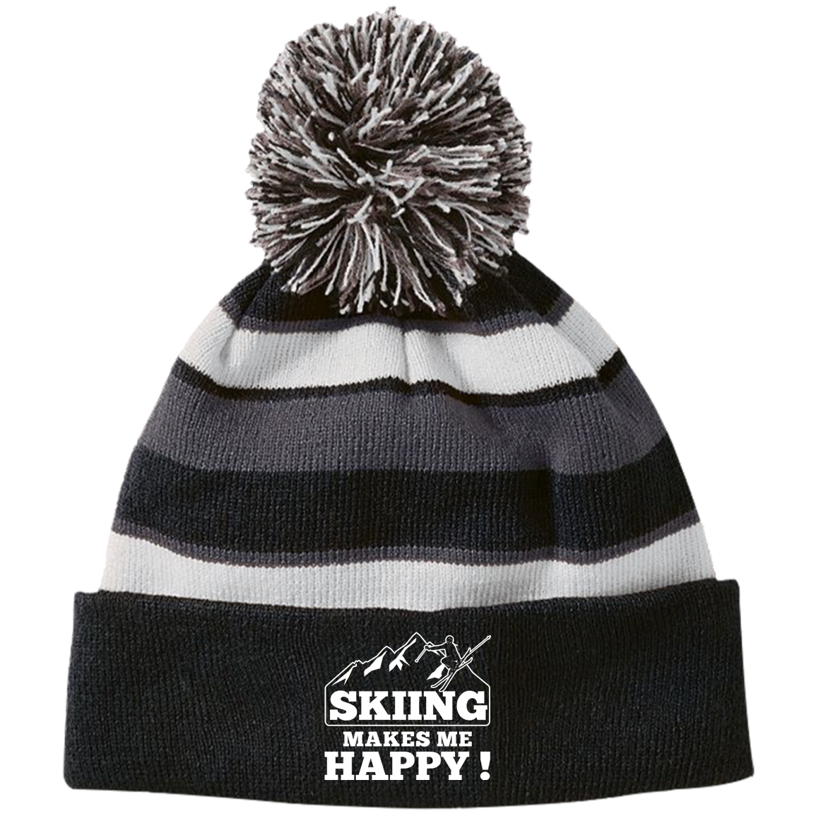 Skiing Makes Me Happy Striped Beanie - Powderaddicts