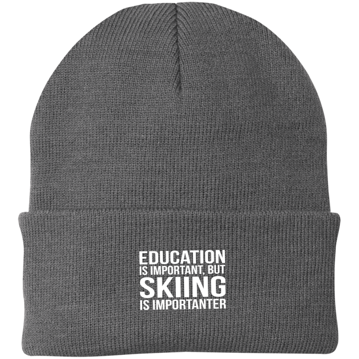 Education is Important but Skiing is Importanter Knit Cap - Powderaddicts