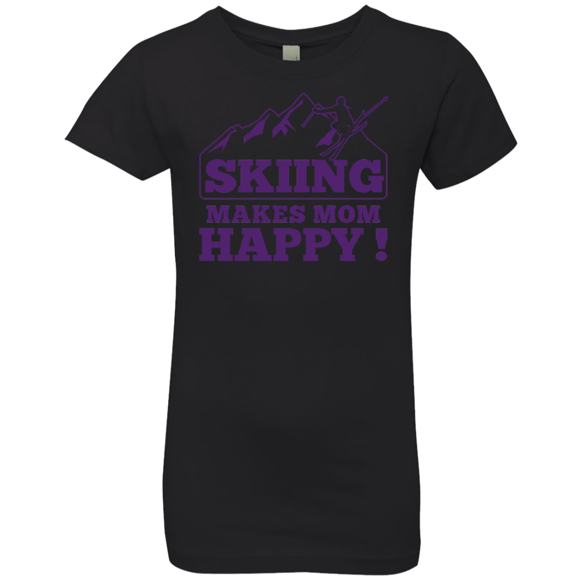 Skiing Makes Mom Happy Purple Youth Next Level Girls' Princess T-Shirt - Powderaddicts