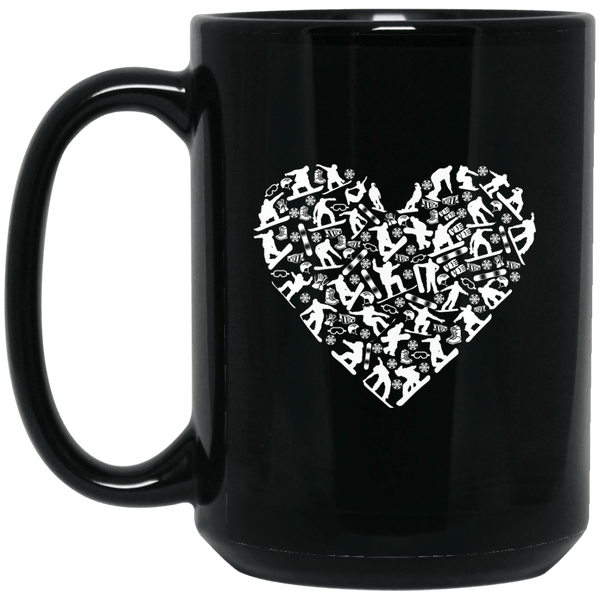 Snowboard Heart Black Mug
