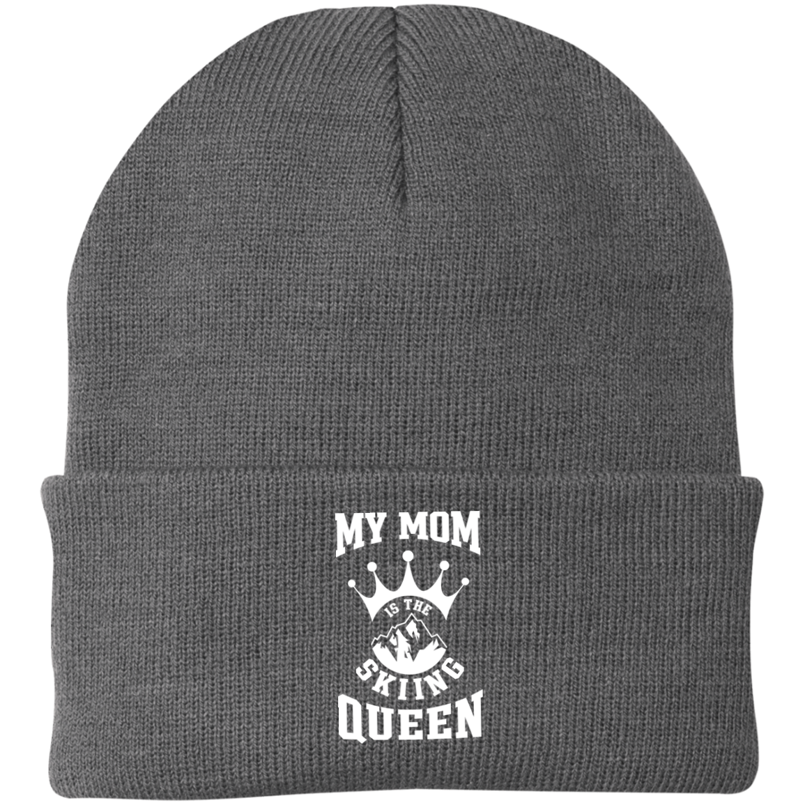 My Mom is The Skiing Queen Knit Cap - Powderaddicts