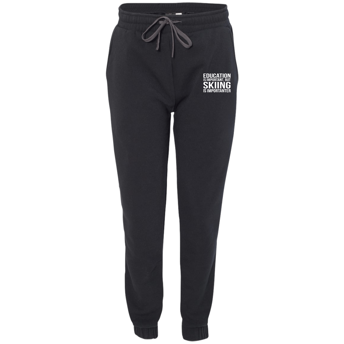 Education is Important but Skiing is Importanter Men's Adult Fleece Joggers - Powderaddicts