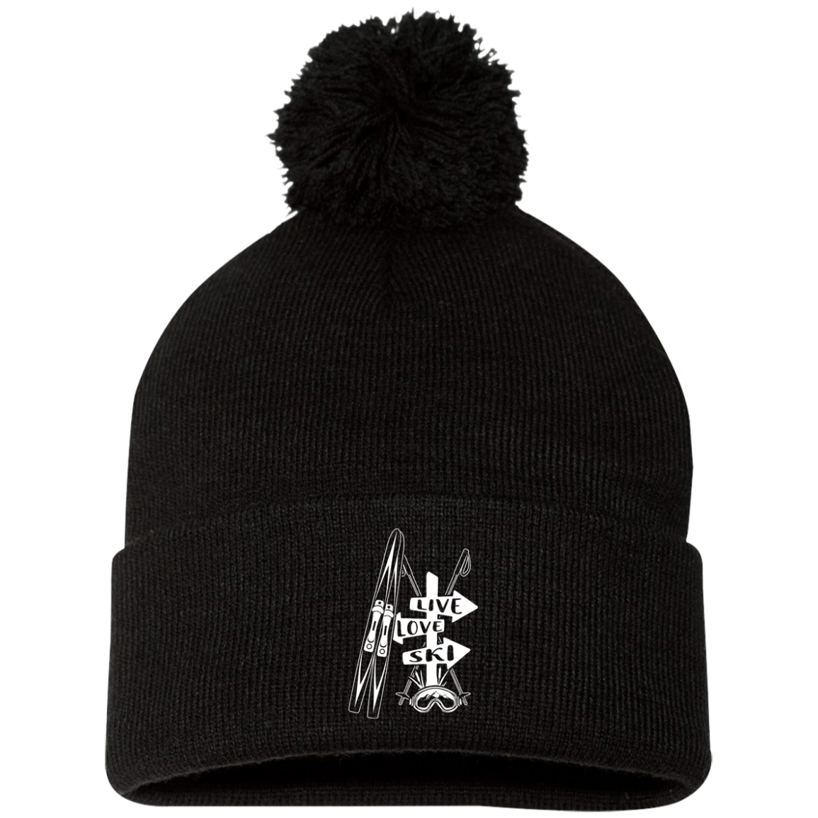 Live Love Ski Pom Pom Knit Cap - Powderaddicts