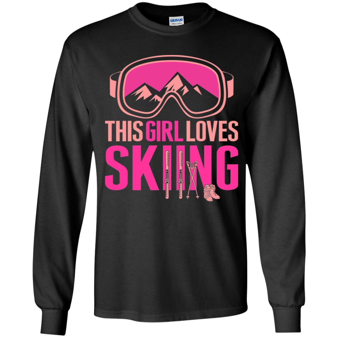 This Girl Loves Skiing Youth Long Sleeve T-Shirt - Powderaddicts