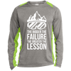 The Bigger The Failure The Greater The Lesson Sport-Tek LS Heather Colorblock Poly T-Shirt - Powderaddicts
