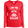 I Am The Skiing Queen White Sport-Tek Ladies' LS Performance V-Neck T-Shirt - Powderaddicts