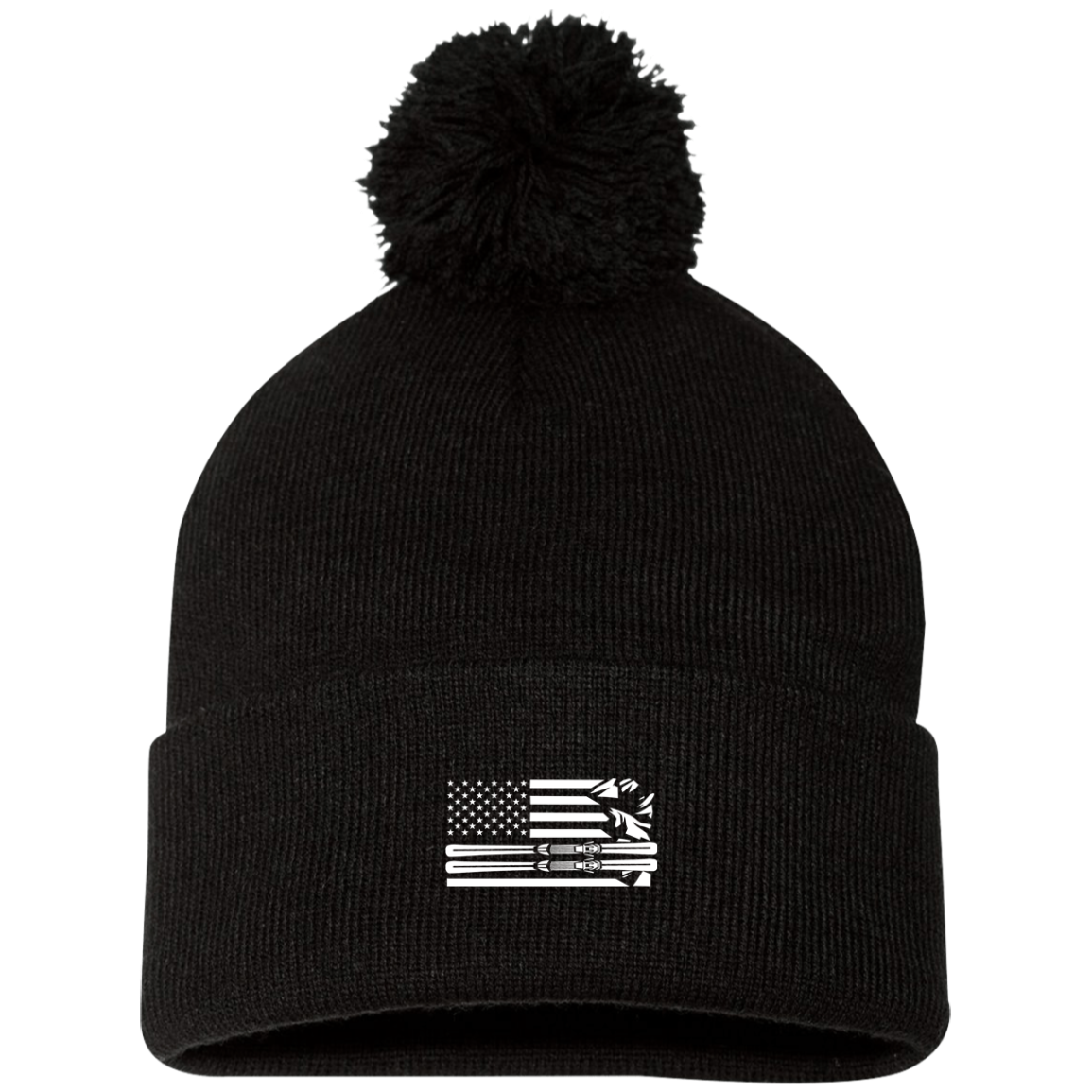 US Ski Flag All White Pom Pom Knit Cap - Powderaddicts