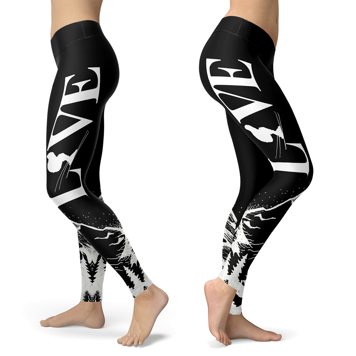 Love Ski All Black Leggings - Powderaddicts