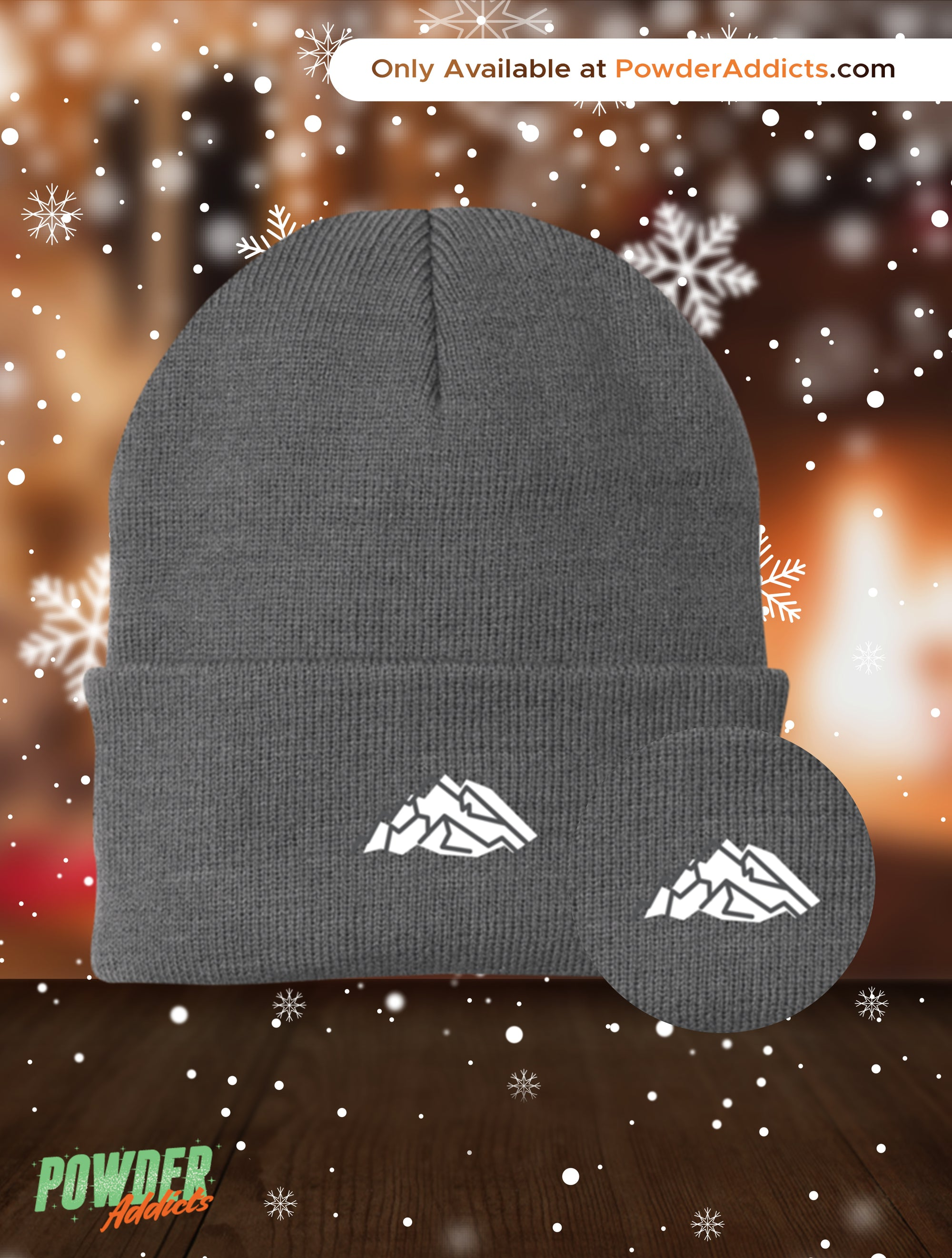 Mountain Embroidery Knit Cap - Powderaddicts