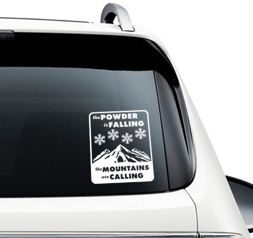 Powder Is Falling Mountains Are Calling Car Decal - Powderaddicts