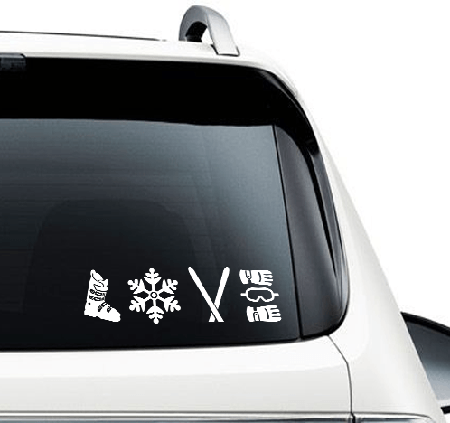 Ski Love - Car Decal - Powderaddicts